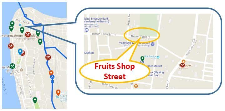 Mawlamyineのフルーツマーケット、ミャンマー・Travel Information Sightseeing、