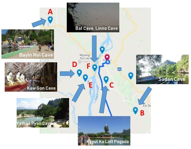 course sightseeing spot Tourist attractions tourist spot recommended Hpa-an, Pa-an