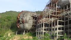 Mawlamyine 寝大仏の外壁 工事中の写真 Win Sein Taw Ya Buddha Reclinado En Construccion Sleeping Big Buddha Pagoda making outside Photos