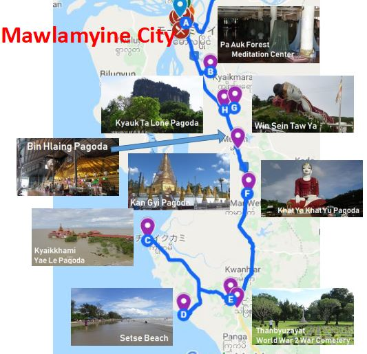 Mawlamyine 南部 モデル course sightseeing spot Tourist attractions tourist spot recommended