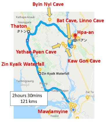 Motorcycle,touring,Mawlamyine,Hpa-an,Pa-an,Ma-,route map,Thaton,
